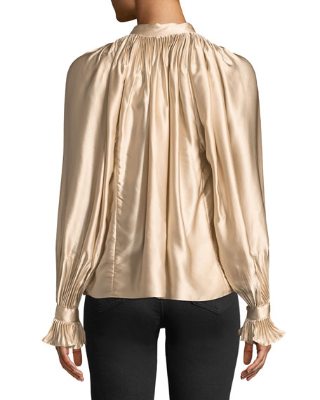 High-Neck Gathered Silk Blouse
