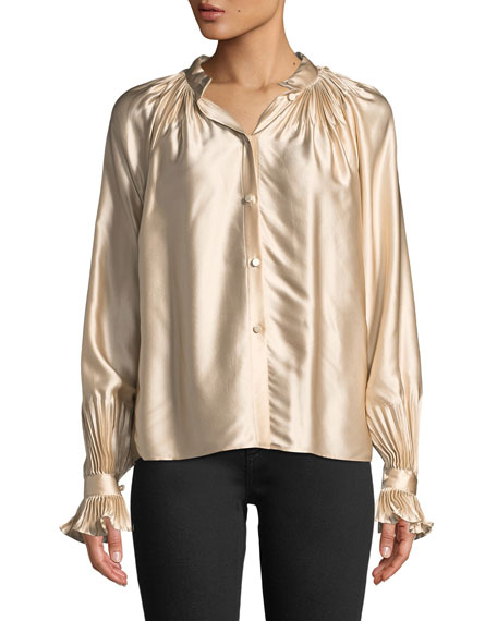 Co High-Neck Gathered Silk Blouse