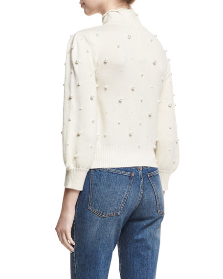 Pearly-Embellished Mock-Neck Sweater