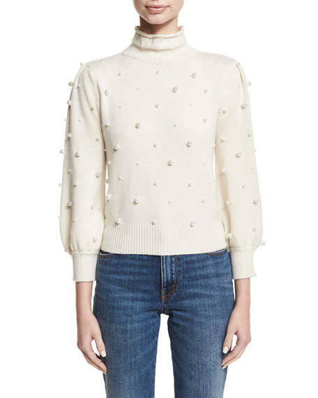 Co Pearly-Embellished Mock-Neck Sweater