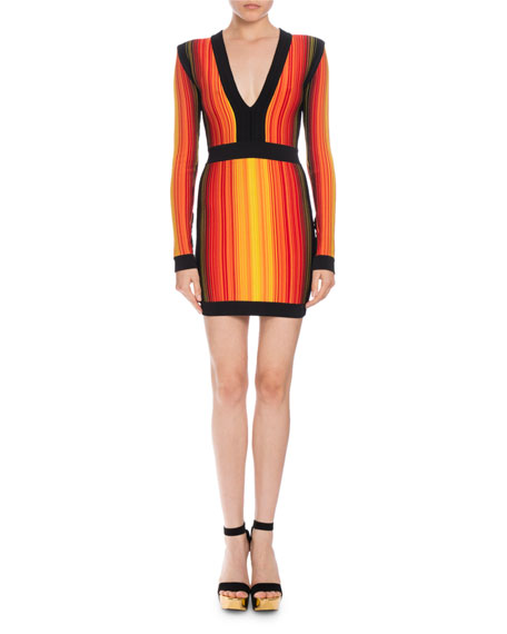 Balmain Striped V-Neck Long-Sleeve Mini Dress