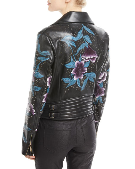 Zip-Front Floral-Print Studded Lambskin Leather Moto Jacket