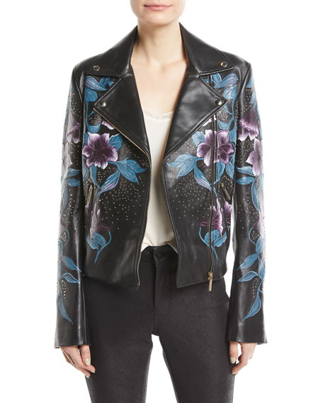 Elie Saab Zip-Front Floral-Print Studded Lambskin Leather Moto