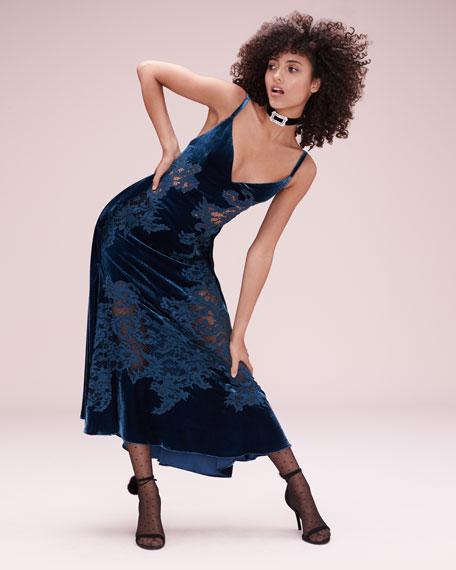 Velvet Lace-Inset Cocktail Slip Dress