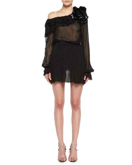 Saint Laurent One-Shoulder Silk Muslin Minidress with Leather