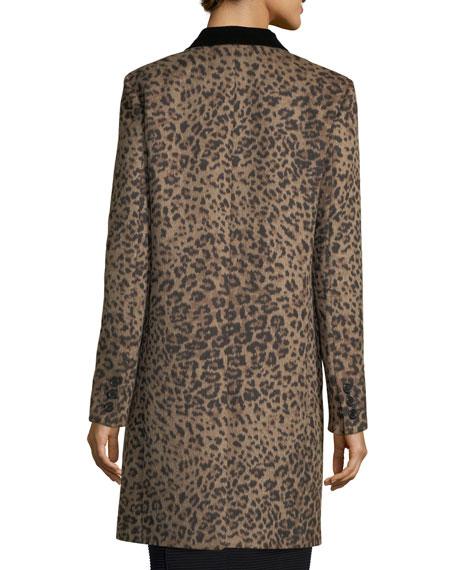 Leopard-Print One-Button Coat