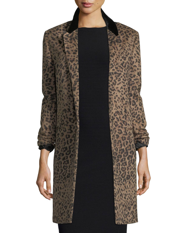 22e02cc96601 Saint Laurent Leopard-Print One-Button Coat