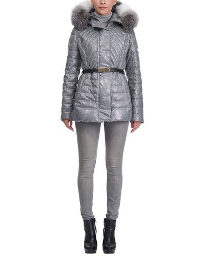 Apres Ski Quilted Belted Jacket with Fox Trim