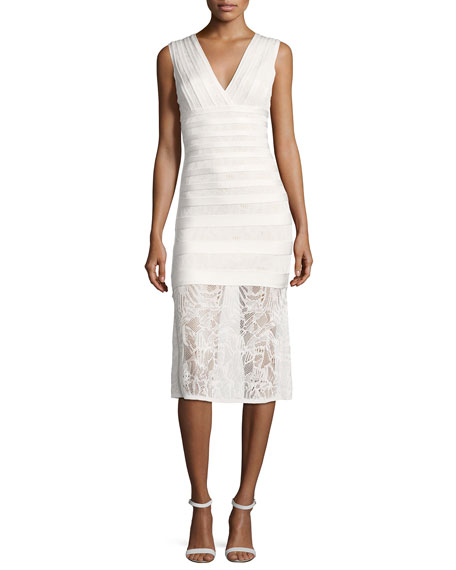 Herve Leger Isabela Pointelle Lace Midi Dress