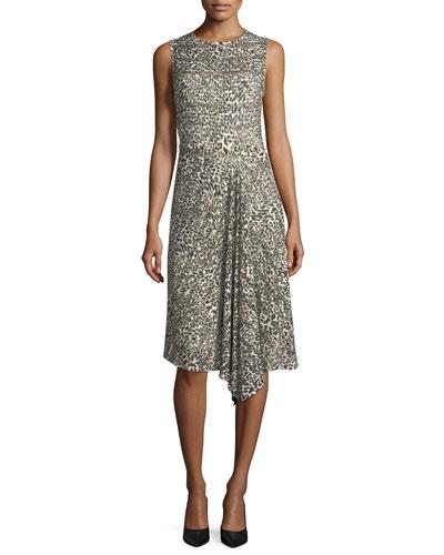Leopard Virgin Wool Handkerchief-Hem Dress