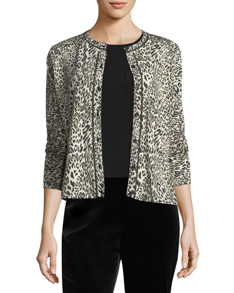 Leopard Virgin Wool Cardigan