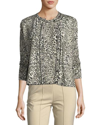 Leopard Virgin Wool Cardigan