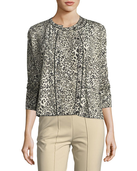 Escada Leopard Virgin Wool Cardigan