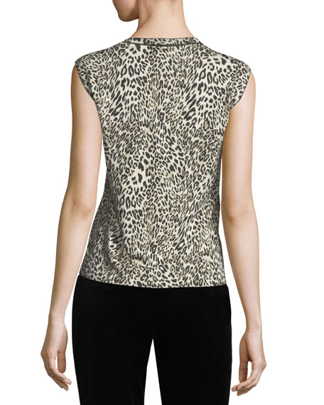 Leopard Virgin Wool Shell Top