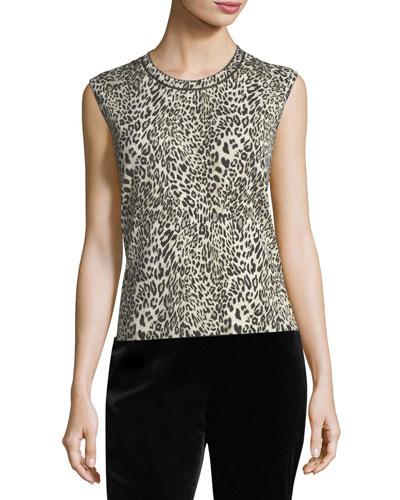 Leopard Virgin Wool Shell Top