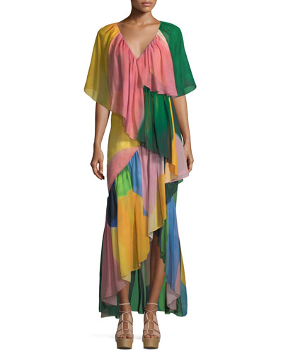 Reversible Tiered Silk Watercolor Maxi Dress