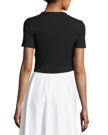Cropped Rib Jersey T-Shirt