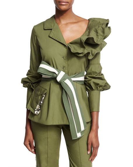 Johanna Ortiz Paz Belted Ruffled Feminine Military Jacket