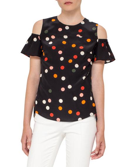Polka Dot Cold-Shoulder Top, Black
