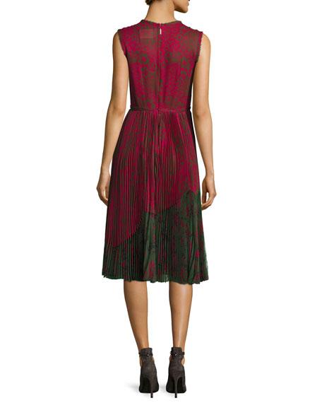 Lace-Print Sleeveless Pleated Dress, Raspberry