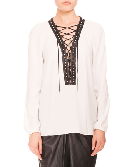 Altuzarra Studded Lace-Up Peasant Blouse, Natural White