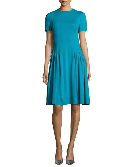 Escada Short-Sleeve Dondi Pleated Dress, Bay