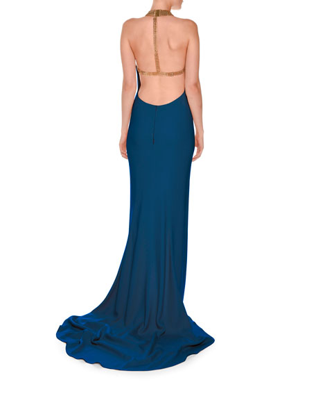 Chain-Neck Sleeveless T-Back Gown