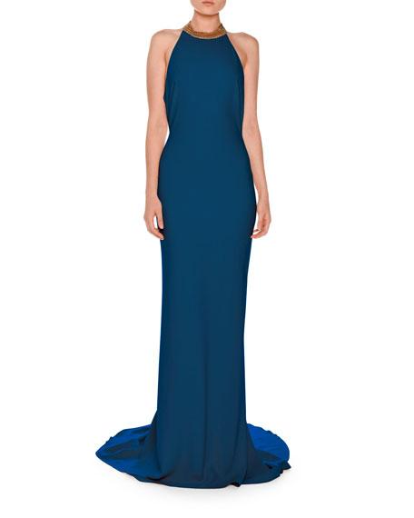 Stella McCartney Chain-Neck Sleeveless T-Back Gown