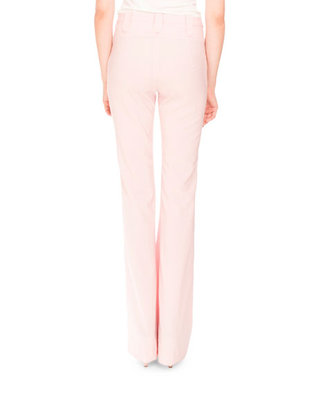 Serge Zip-Front Flare-Leg Pants, Shell Pink