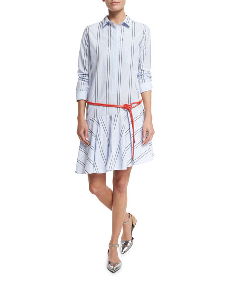 Brunello Cucinelli Micro-Paillette Striped Shirtdress, Light Blue