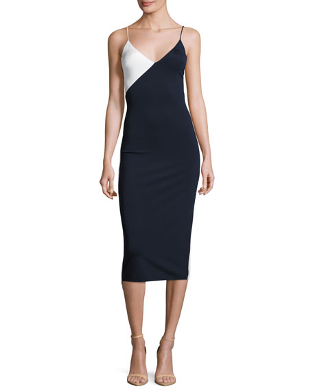 Cushnie Et Ochs Colorblock Sleeveless V-Neck Dress