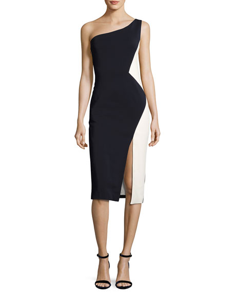 One-Shoulder Colorblock Sheath Dress