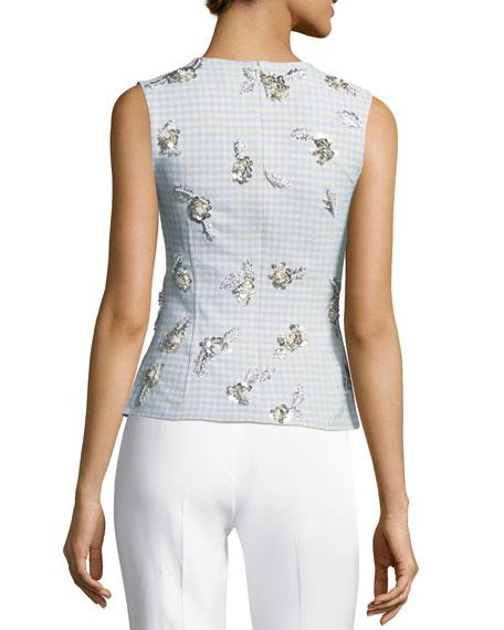 Tara Sleeveless Gingham Suiting Top w/ Embellishments