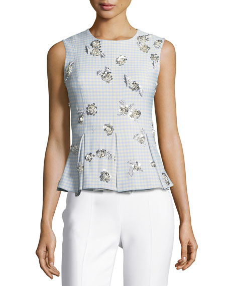 Brock Collection Tara Sleeveless Gingham Suiting Top w/