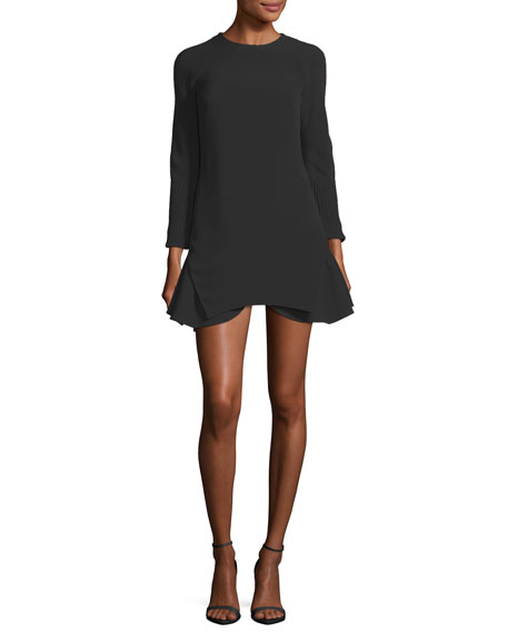 Brandon Maxwell Long-Sleeve Crepe Flounce Cocktail Minidress