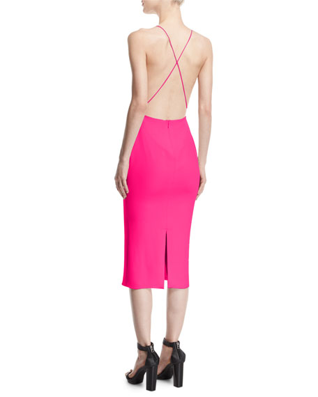 Silk Crepe Open-Back Cocktail Dress