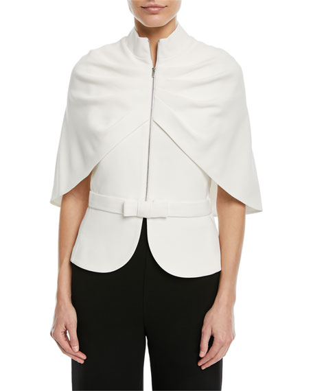 Brandon Maxwell Zip-Front Cape-Sleeve Jacket