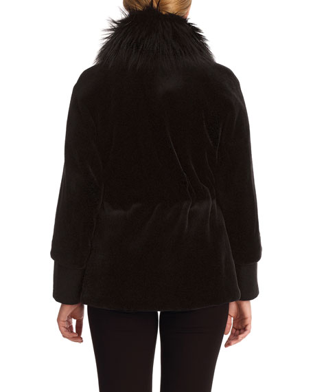 Sheared Mink Jacket with Fox-Fur Collar and Suede Belt