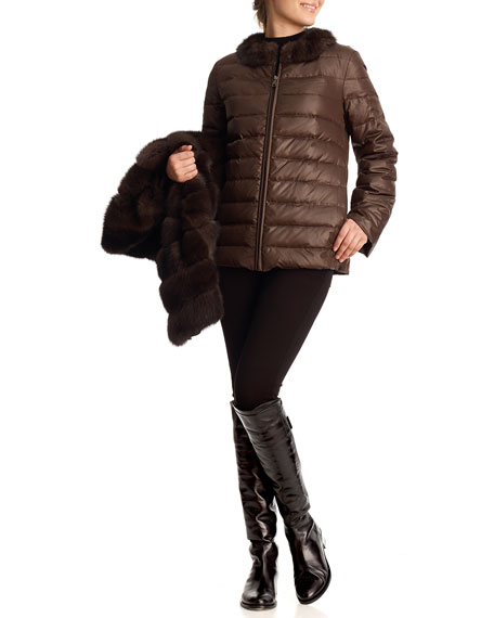 Sable Fur & Silk Two-Piece Down Jacket