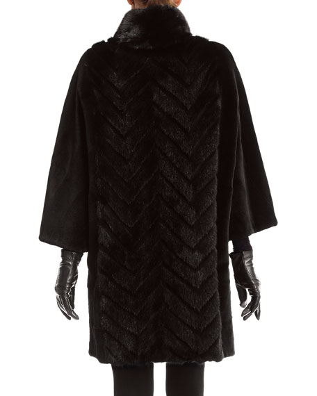Mink Stroller Coats with Chevron Inserts and Batwing Sleeves