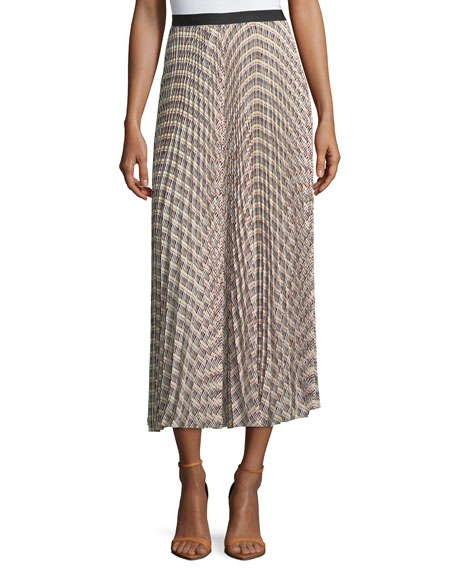 Derek Lam Basketweave-Print Pleated Midi Skirt