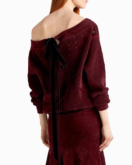 Chenille Velvet Off-the-Shoulder Sweater