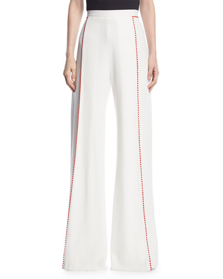 Chan Chan Pompom-Trim Wide-Leg Pants