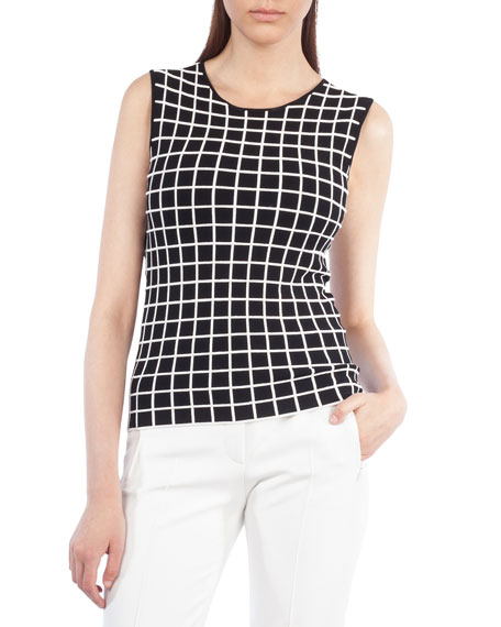 Sleeveless Round-Neck Grid Top