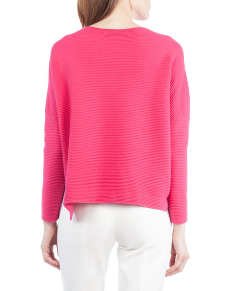 Ribbed Stretch-Knit Pullover Top