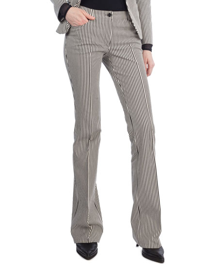 Akris punto Faye Boot-Cut Striped Denim Pants and