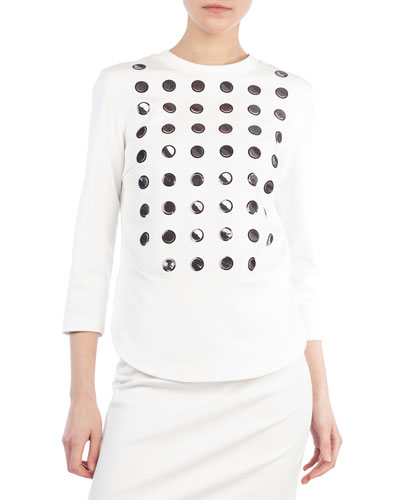3/4-Sleeve 3D Paillettes Sweatshirt