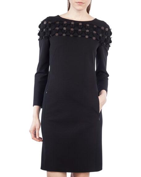 Flocked Long-Sleeve Combo Dress