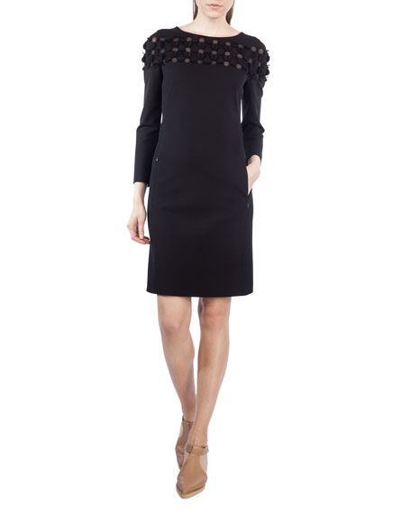 Akris punto Flocked Long-Sleeve Combo Dress