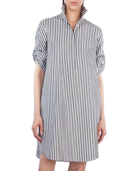 Striped Poplin Tunic Shirtdress